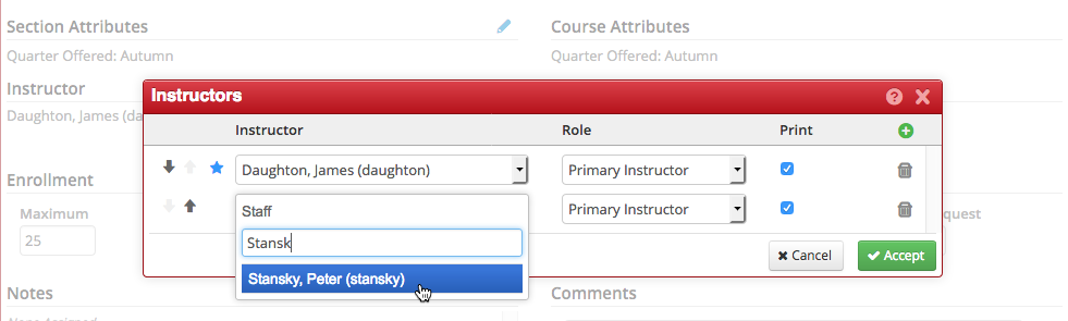 add the additional instructor by entering the name under the Staff dialog box